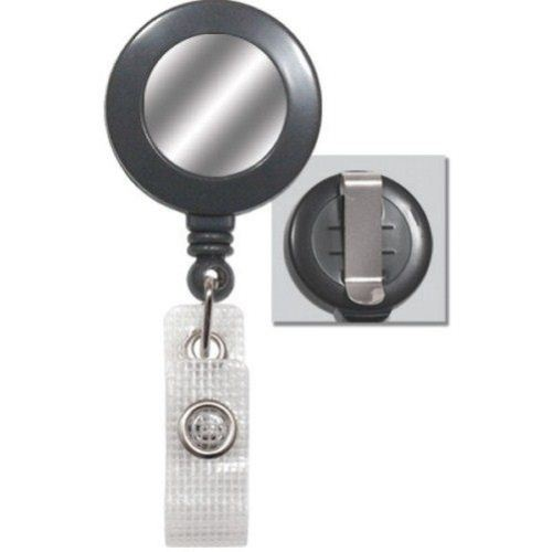 Grey Reinforced Badge Reel w Silver Sticker and Belt Clip - 25pk (2120-3120) Image 1