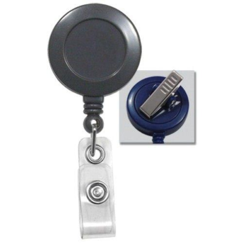 Grey Round Badge Reel with Swivel Spring Clip - 25pk (2120-7620) Image 1