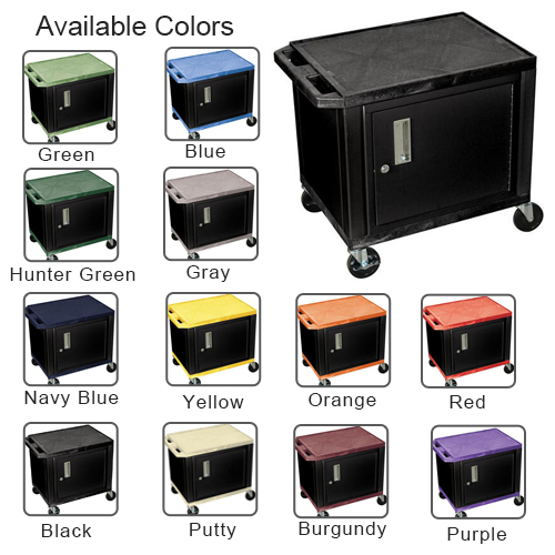 "H. Wilson 24.5"" High Tuffy Utility A/V Cart with Cabinet (2-Shelf Black Legs) (WT26C-B), H. Wilson brand Image 1"
