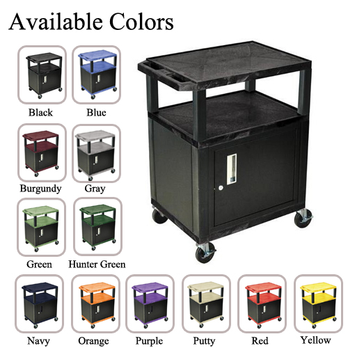 "H. Wilson 34"" High Tuffy Utility A/V Cart with Cabinet (3-Shelf Black Legs) (WT34C-B) Image 1"