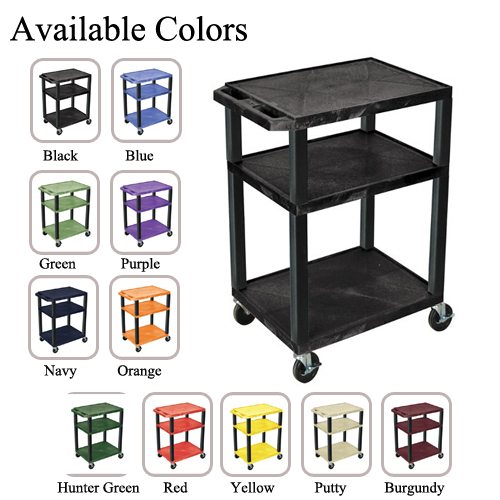 "H. Wilson 34"" High Tuffy Utility A/V Cart (3-Shelf Black Legs) (WT34-BLACK) Image 1"