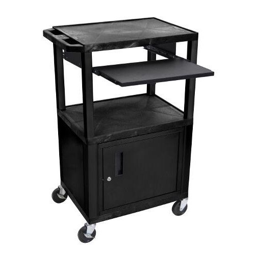 "H. Wilson 42"" High Black Tuffy Utility A/V Cart with Cabinet and Pullout Shelf (3-Shelf Black Legs) (WTPS42C2E-B), H. Wilson brand Image 1"