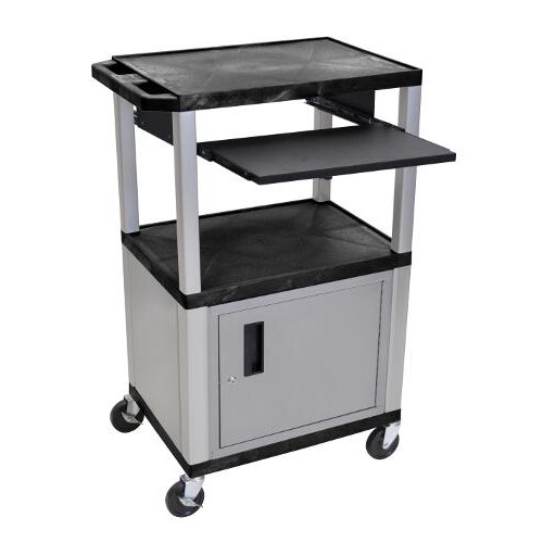 "H. Wilson 42"" High Black Tuffy Utility A/V Cart with Cabinet and Pullout Shelf (3-Shelf Nickel Legs) (WTPS42C4E-N), H. Wilson brand Image 1"