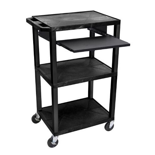 "H. Wilson 42"" High Black Tuffy Utility A/V Cart with Pullout Shelf (3-Shelf Black Legs) (WTPS42E-B), H. Wilson brand Image 1"