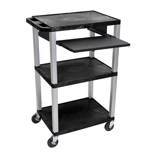 "H. Wilson 42"" High Black Tuffy Utility A/V Cart with Pullout Shelf (3-Shelf Nickel Legs) (WTPS42E-N), H. Wilson brand Image 1"