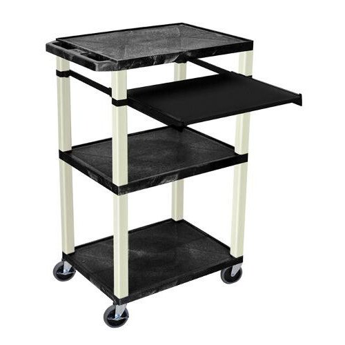 "H. Wilson 42"" High Black Tuffy Utility A/V Cart with Pullout Shelf (3-Shelf Putty Legs) (WTPS42E-P), H. Wilson brand Image 1"