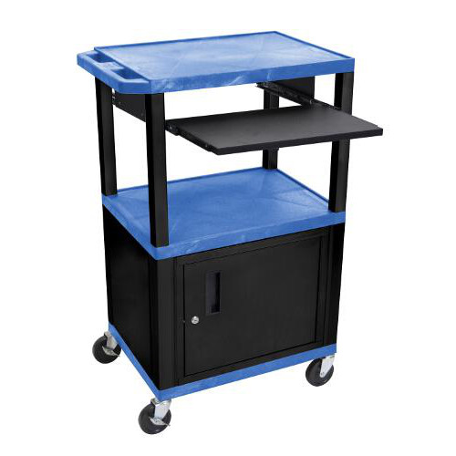 "H. Wilson 42"" High Blue Tuffy Utility A/V Cart with Cabinet and Pullout Shelf (3-Shelf Black Legs) (WTPS42BUC2E-B) Image 1"