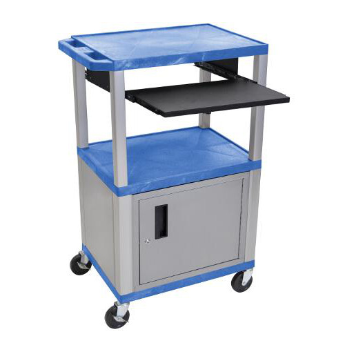 "H. Wilson 42"" High Blue Tuffy Utility A/V Cart with Cabinet and Pullout Shelf (3-Shelf Nickel Legs) (WTPS42BUC4E-N), H. Wilson brand Image 1"