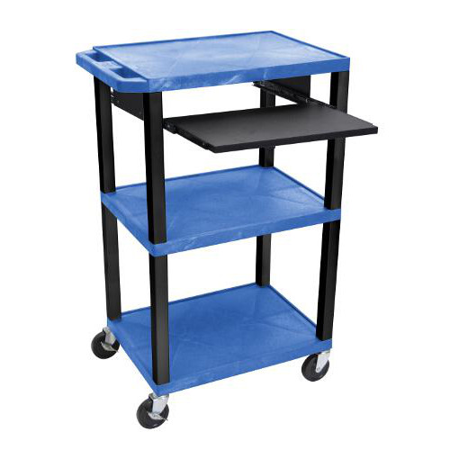 "H. Wilson 42"" High Blue Tuffy Utility A/V Cart with Pullout Shelf (3-Shelf Black Legs) (WTPS42BUE-B), H. Wilson brand Image 1"