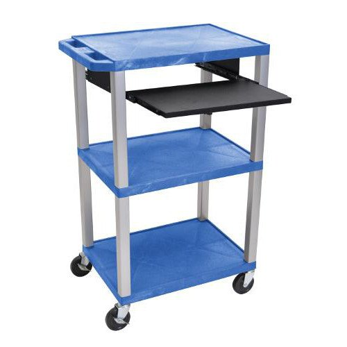 "H. Wilson 42"" High Blue Tuffy Utility A/V Cart with Pullout Shelf (3-Shelf Nickel Legs) (WTPS42BUE-N), H. Wilson brand Image 1"