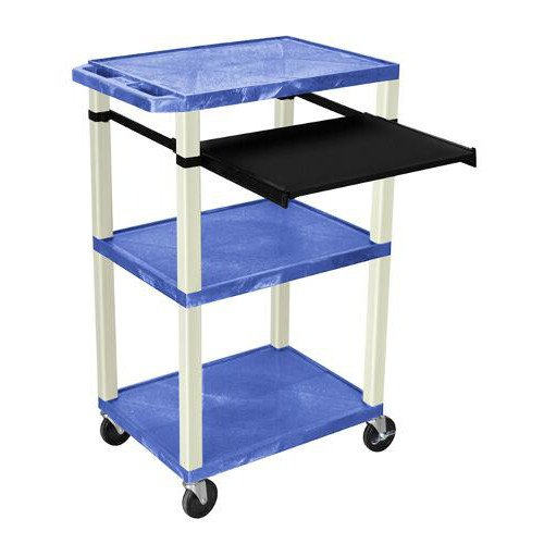 "H. Wilson 42"" High Blue Tuffy Utility A/V Cart with Pullout Shelf (3-Shelf Putty Legs) (WTPS42BUE), H. Wilson brand Image 1"