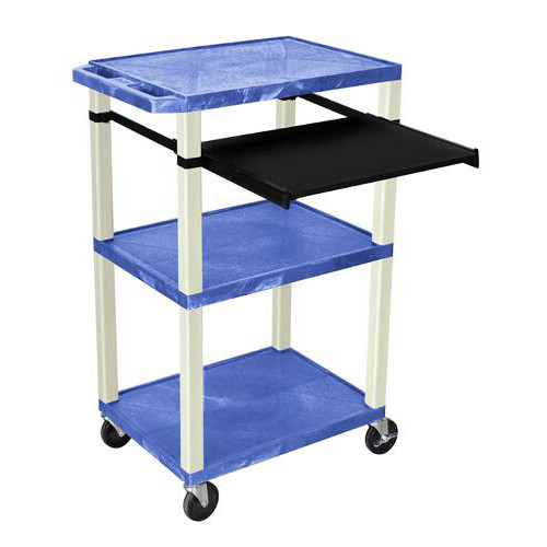 "H. Wilson 42"" High Blue Tuffy Utility A/V Cart with Pullout Shelf (3-Shelf Putty Legs) (WTPS42BUE) Image 1"
