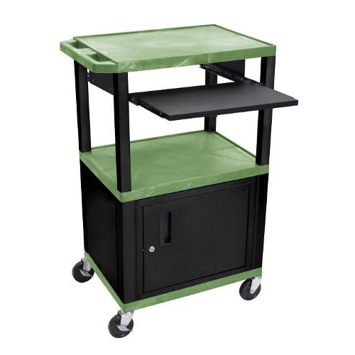 "H. Wilson 42"" High Green Tuffy Utility A/V Cart with Cabinet and Pullout Shelf (3-Shelf Black Legs) (WTPS42GC2E-B) Image 1"