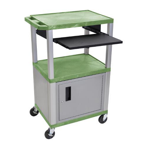 "H. Wilson 42"" High Green Tuffy Utility A/V Cart with Cabinet and Pullout Shelf (3-Shelf Nickel Legs) (WTPS42GC4E-N) Image 1"