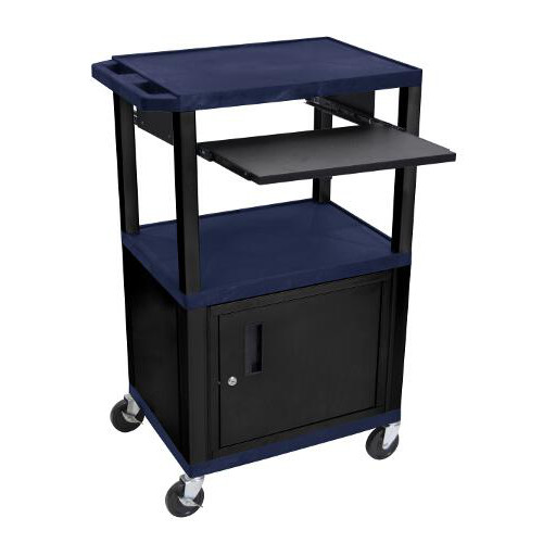 "H. Wilson 42"" High Navy Blue Tuffy Utility A/V Cart with Cabinet and Pullout Shelf (3-Shelf Black Legs) (WTPS42ZC2E-B) Image 1"