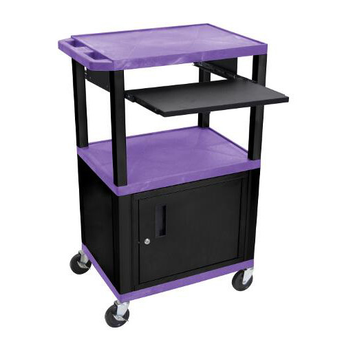 "H. Wilson 42"" High Purple Tuffy Utility A/V Cart with Cabinet and Pullout Shelf (3-Shelf Black Legs) (WTPS42PC2E-B) Image 1"
