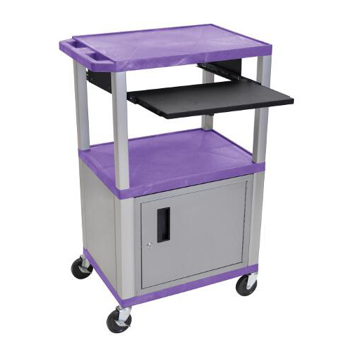 "H. Wilson 42"" High Purple Tuffy Utility A/V Cart with Cabinet and Pullout Shelf (3-Shelf Nickel Legs) (WTPS42PC4E-N) Image 1"