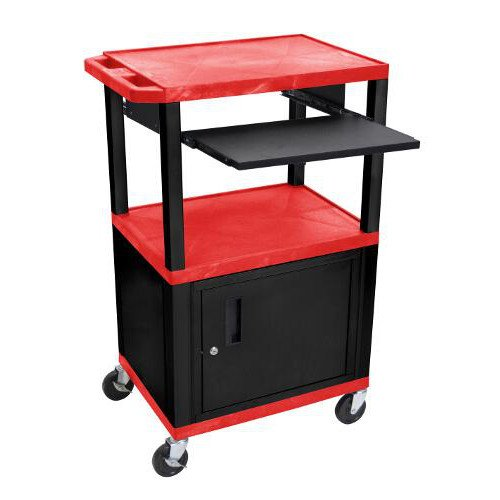 "H. Wilson 42"" High Red Tuffy Utility A/V Cart with Cabinet and Pullout Shelf (3-Shelf Black Legs) (WTPS42RC2E-B) Image 1"