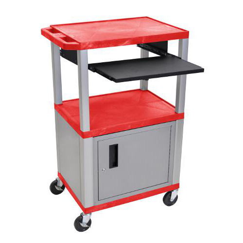 "H. Wilson 42"" High Red Tuffy Utility A/V Cart with Cabinet and Pullout Shelf (3-Shelf Nickel Legs) (WTPS42RC4E-N) Image 1"