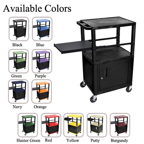 "H. Wilson 42"" High Tuffy Utility A/V Cart with Cabinet and Side Pull-out Shelf (3-Shelf Black Legs) (WTPSP42-HTUAVC3SBL) Image 1"