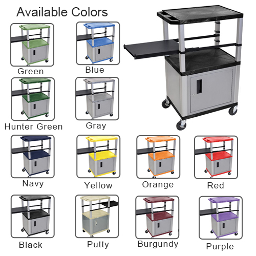 "H. Wilson 42"" High Tuffy Utility A/V Cart with Cabinet and Side Pull-out Shelf (3-Shelf Nickel Legs) (WTPSP42-HTUAVC3SNK) Image 1"