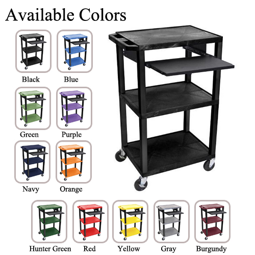"H. Wilson 42"" High Tuffy Utility A/V Cart with Pullout Shelf (3-Shelf Black Legs) (WTPS42-BLACK) - $125.91 Image 1"