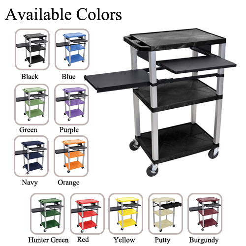 "H. Wilson 42"" High Tuffy Utility A/V Cart with Side and Front Pull-out Shelf (3-Shelf Nickel Legs) (WTPSLP42-HTUAVC-3SNL) Image 1"