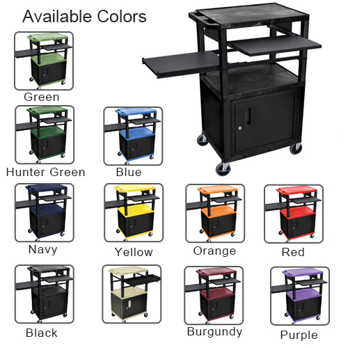 "H. Wilson 42"" High Tuffy Utility A/V Cart with Side & Front Pull-out Shelf and Cabinet (3-Shelf Black Legs) (WTPSLP42-HTUAVC3SBLK) Image 1"