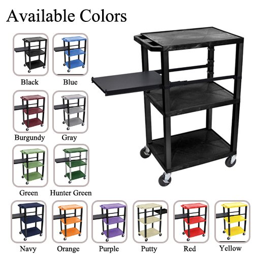 "H. Wilson 42"" High Tuffy Utility A/V Cart with Side Pull-out Shelf (3-Shelf Black Legs) (WTPSP42-HTUAVC-3SBL) Image 1"