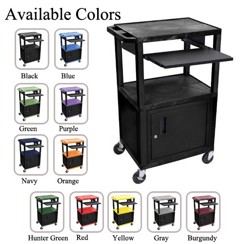 "H. Wilson 42"" High Tuffy Utility A/V Cart with Cabinet and Pullout Shelf (3-Shelf Black Legs) (WTPS42C-B) Image 1"