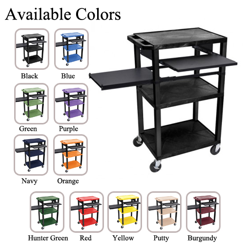 "H. Wilson 42"" High Tuffy Utility A/V Cart with Side and Front Pull-out Shelf (3-Shelf Black Legs) (WTPSLP42-HTUAVC3SBL) Image 1"