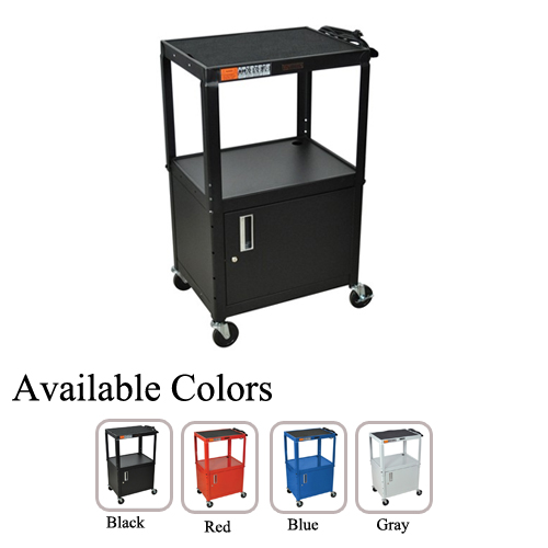 H. Wilson Adjustable Height 3-Shelf Steel A/V Cart with Cabinet (W42A-WAH3SSAVCC) Image 1