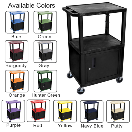 "H. Wilson Tuffy 42"" Utility and Audio / Visual Cart with Cabinet (3-Shelf Black Legs) (HW1824TUAVCWCBL) Image 1"