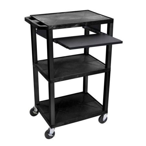 "H. Wilson Tuffy Black 42"" High 3-Shelf A/V Utility Cart w/ Pullout Shelf (No Outlet / Black Legs) (WTPS42-B)"