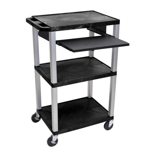 "H. Wilson Tuffy Black 42"" High 3-Shelf A/V Utility Cart w/ Pullout Shelf (No Outlet / Nickel Legs) (WTPS42-N)"
