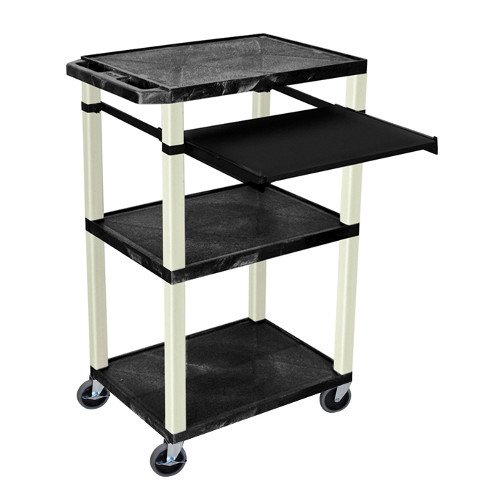 "H. Wilson Tuffy Black 42"" High 3-Shelf A/V Utility Cart w/ Pullout Shelf (No Outlet / Putty Legs) (WTPS42-P)"
