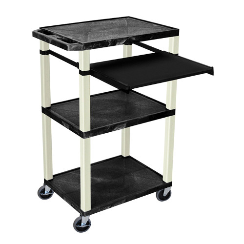 "H. Wilson Tuffy Black 42"" High 3-Shelf A/V Utility Cart w/ Pullout Shelf (No Outlet / Putty Legs) (WTPS42-P), H. Wilson brand Image 1"