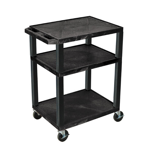 "H. Wilson Tuffy Black 34"" High 3-Shelf A/V Utility Cart (No Outlet / Black Legs) (WT34) Image 1"