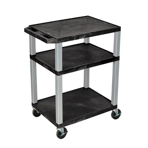 "H. Wilson Tuffy Black 34"" High 3-Shelf A/V Utility Cart (No Outlet / Nickel Legs) (WT34-N)"