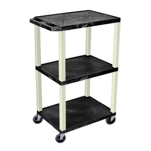 "H. Wilson Tuffy Black 42"" High 3-Shelf A/V Utility Cart (No Outlet / Putty Legs) (WT42), H. Wilson brand Image 1"