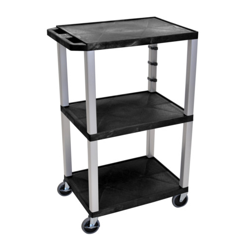 "H. Wilson Tuffy Black 42"" High 3-Shelf A/V Utility Cart (No Outlet / Nickel Legs) (WT42-N) Image 1"