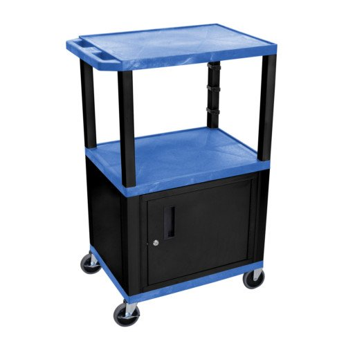 "H. Wilson Tuffy Blue 42"" High Tuffy Utility A/V Cart with Cabinet (3-Shelf Black Legs) (WT42BUC2E-B) Image 1"