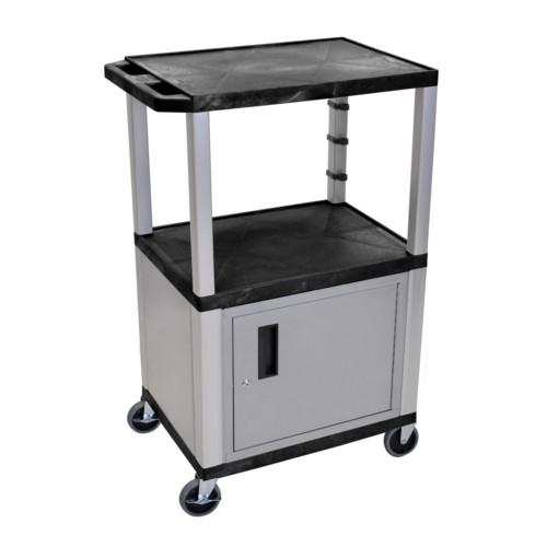 "H. Wilson Tuffy Black 42"" High Tuffy Utility A/V Cart with Cabinet (3-Shelf Nickel Legs) (WT42C4E-N) Image 1"