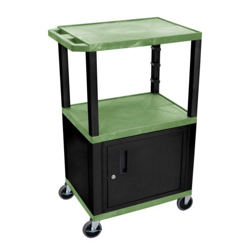 "H. Wilson Tuffy Green 42"" High Tuffy Utility A/V Cart with Cabinet (3-Shelf Black Legs) (WT42GC2E-B) Image 1"
