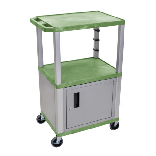 "H. Wilson Tuffy Green 42"" High Tuffy Utility A/V Cart with Cabinet (3-Shelf Nickel Legs) (WT42GC4E-N), H. Wilson brand Image 1"