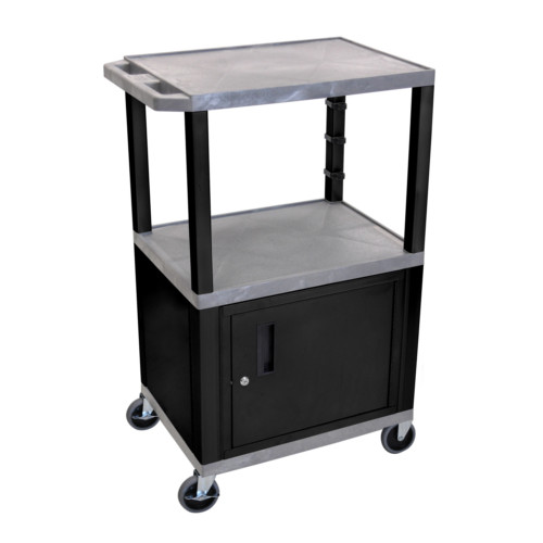 "H. Wilson Tuffy Gray 42"" High Tuffy Utility A/V Cart with Cabinet (3-Shelf Black Legs) (WT42GYC2E-B) Image 1"