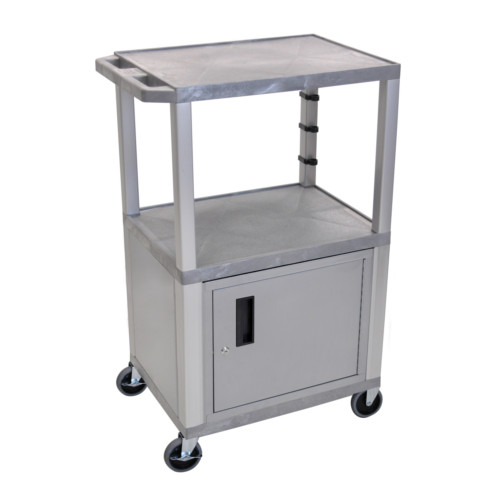 "H. Wilson Tuffy Gray 42"" High Tuffy Utility A/V Cart with Cabinet (3-Shelf Nickel Legs) (WT42GYC4E-N) Image 1"