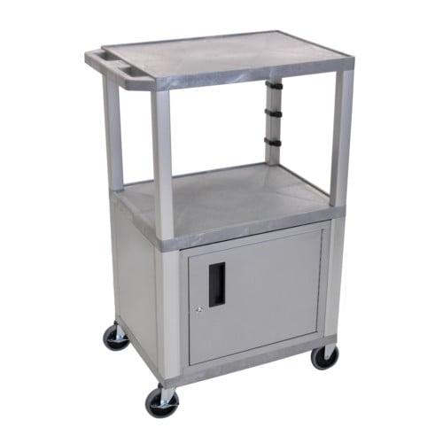"""H. Wilson Tuffy Gray 42"""" High Tuffy Utility A/V Cart with Cabinet (3-Shelf Nickel Legs) (WT42GYC4E-N), Boards Image 1"""
