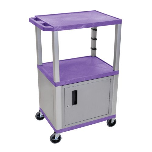 "H. Wilson Tuffy Purple 42"" High Tuffy Utility A/V Cart with Cabinet (3-Shelf Nickel Legs) (WT42PC4E-N) Image 1"
