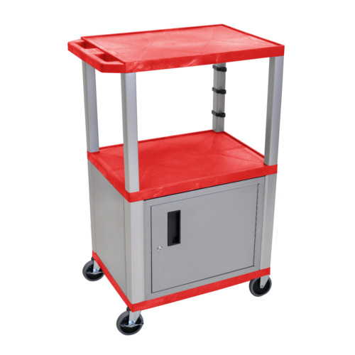 "H. Wilson Tuffy Red 42"" High Tuffy Utility A/V Cart with Cabinet (3-Shelf Nickel Legs) (WT42RC4E-N) Image 1"